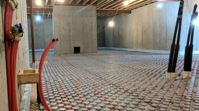 Heated Basement Floor by Sonnarc Homes